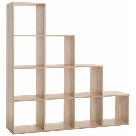Cubi In Legno.Libreria A Cubi A Scala Rovere Moderna Mensole Legno Divisorio Scaffali Ufficio