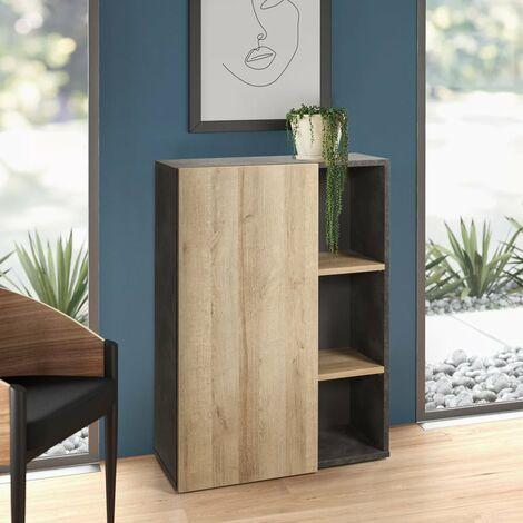 Librería Baja Gris y Roble Natural 3 Estantes y Puerta Diseño CORE
