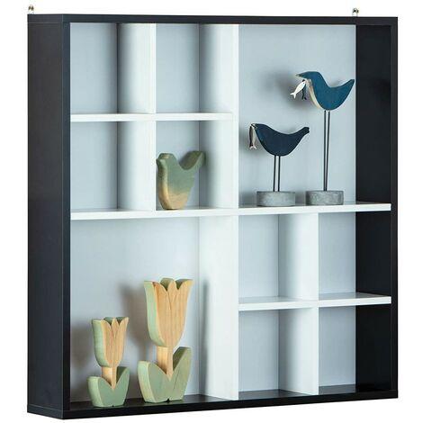 Libreria Bianca Nera da Parete a Muro Cubi Mensole Ripiani Legno Sospesa Camera