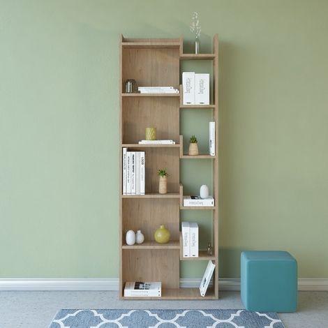 Libreria Brooke Mueble de Pared - Estanteria para Libros - con Compartimientos - para Salon, Oficina, Estudio - en Madera, 60,5 x 22 x 162,5 cm
