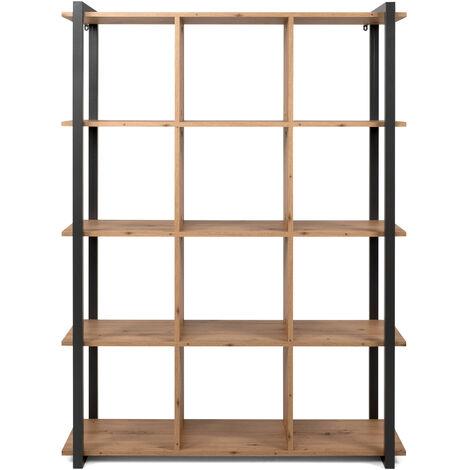 Libreria Con Cubi Aperti E Ripiani In Legno, 107x39x145 Cm Marrone