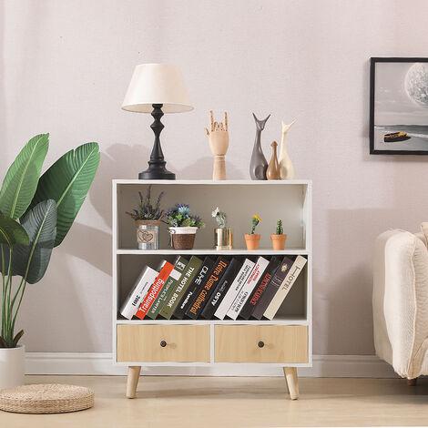 Libreria con due cassetti-Bianco e giallo 80*30*90cm