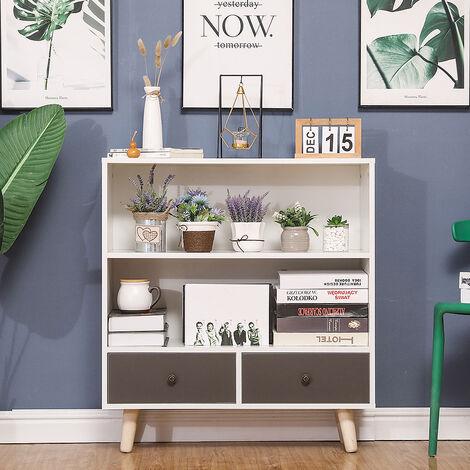 Libreria con due cassetti-Bianco e grigio 80*30*90cm
