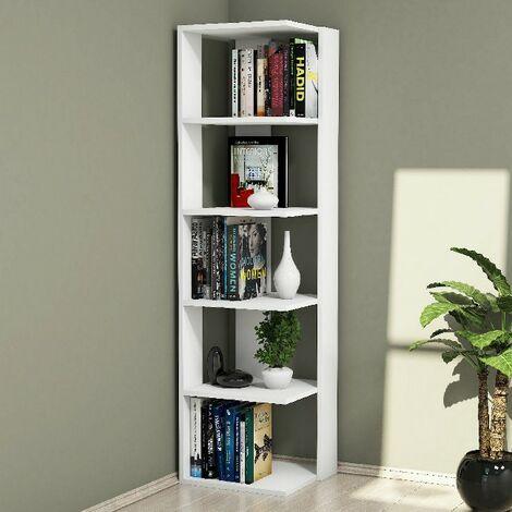 Libreria Corner Estanteria para Libros, Mueble de Pared - con Compartimientos - para Salon, Oficina - Blanco en Madera, 41,8 x 41,8 x 160,8 cm