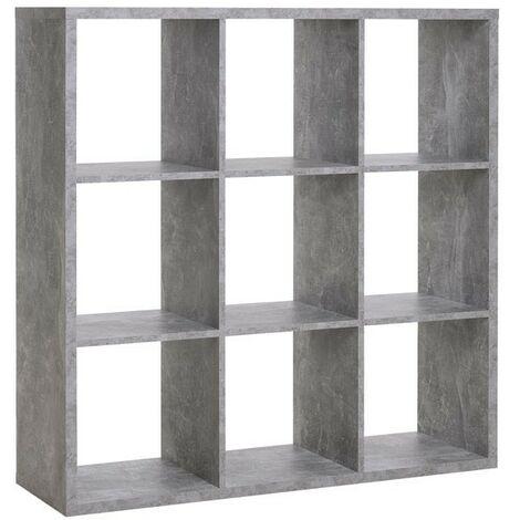 Libreria cubo 9 scomparti colore cemento 107x33xh.107 cm