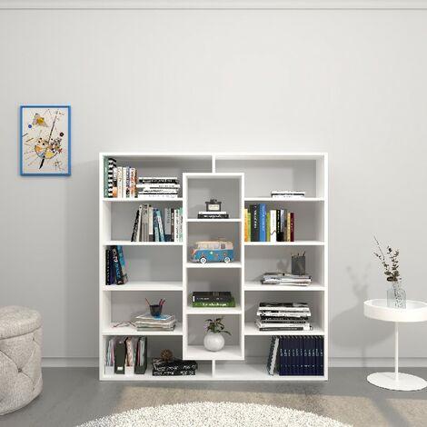Libreria Dalia - Armario de pared, estante - con estantes - para la sala de estar, la oficina, la entrada - Blanco en Madera, 130 x 27 x 130 cm