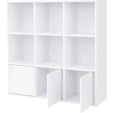 Librería de Madera Biblioteca para el Hogar u Oficina 6 Cubos estantes Estantería para DVD con 3 cajones Inferiores Blanco LBC33WT