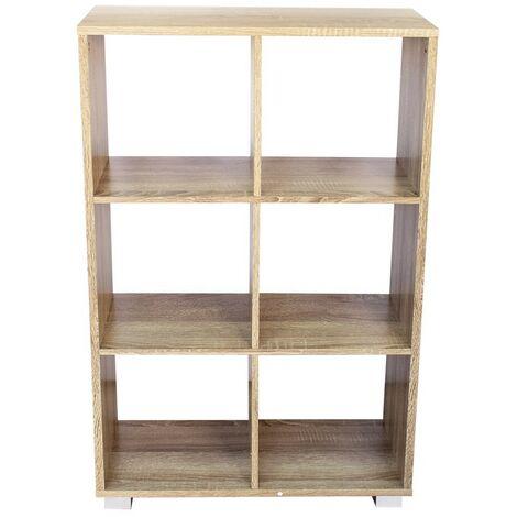 Librería de madera KUBO con 6 estantes equipada con pies 60x24xH99 cm