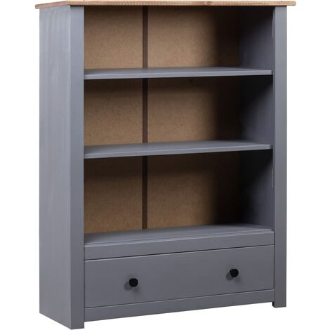 Librería de madera maciza pino estilo Panamá gris 80x35x100 cm