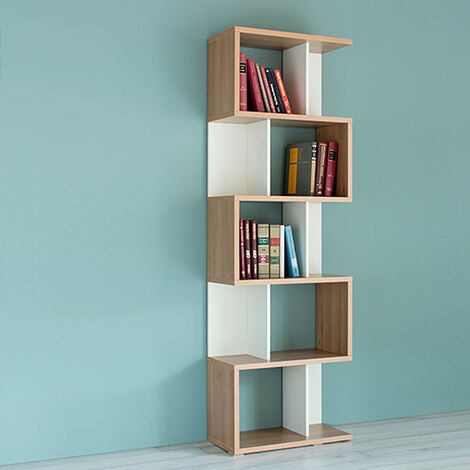 Librería de madera multifuncional, estantería y divisor interior, librería de 5 niveles