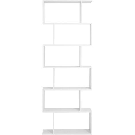 Librería de Madera, Separador de Espacios, Estantería de Exposición, Decoración contemporánea de 6 Niveles, Blanco, LBC61WT