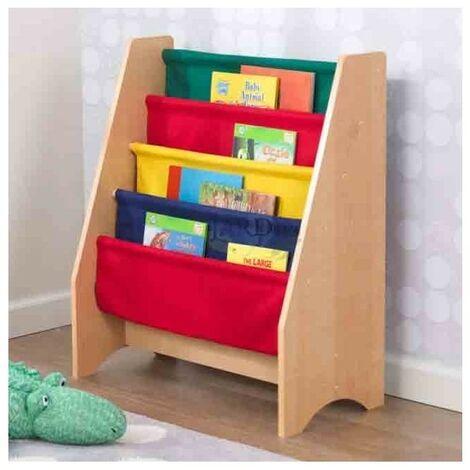 Librería de tela infantil 61x30x71 cm. Colores primarios y naturales