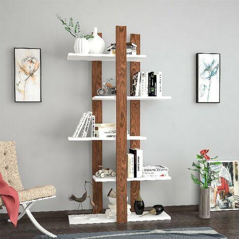 Libreria Denbi - Estanteria para Libros, Mueble de Pared con Compartimientos para Salon, Estudio - Blanco, Wengue, in Aglomerado Melaminico , 75x25,5x150 cm