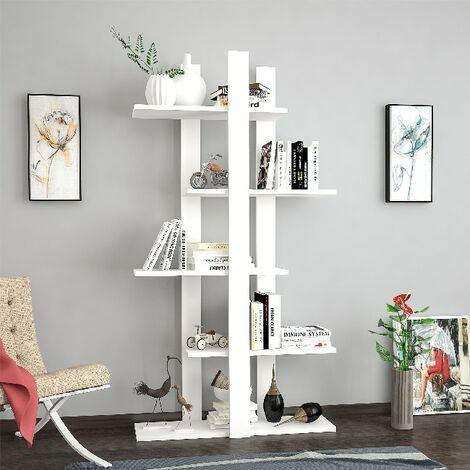 Libreria Denbi Estanteria para Libros, Mueble de Pared - con Compartimientos - para Salon, Oficina - Blanco en Madera, 80 x 20 x 150 cm
