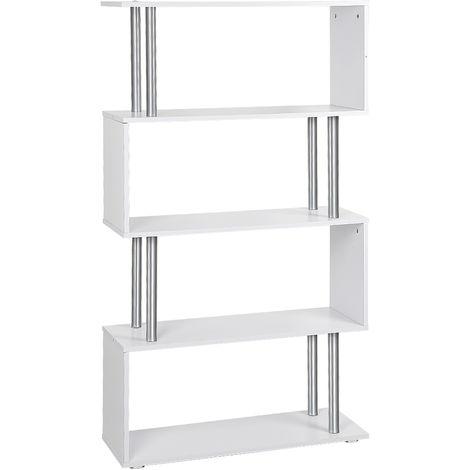 Libreria di Design Moderna 4 Ripiani, Bianco, 80x30x145cm