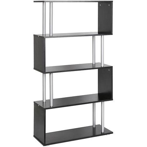 Libreria di Design Moderna 4 Ripiani, Nero, 80x30x145cm