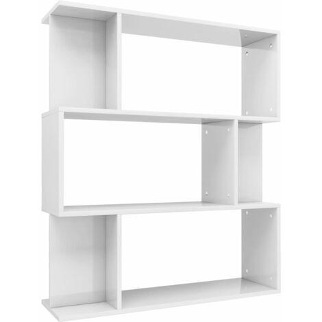 Libreria/Divisorio Bianco Lucido 80x24x96 cm in Truciolato
