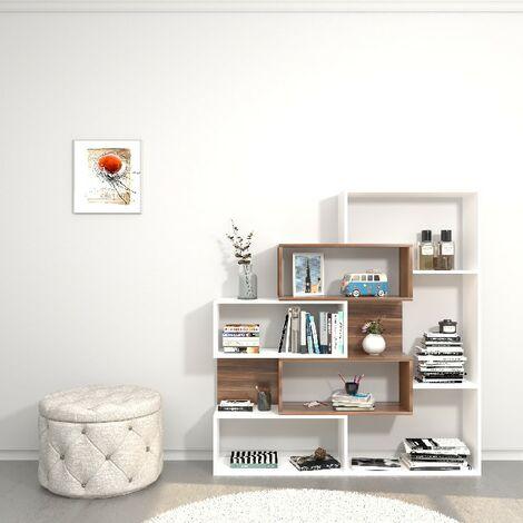 Libreria Era - de pared, estante - con estantes - de sala, oficina, entrada - Blanco, Madera en Madera, 140 x 27 x 150 cm