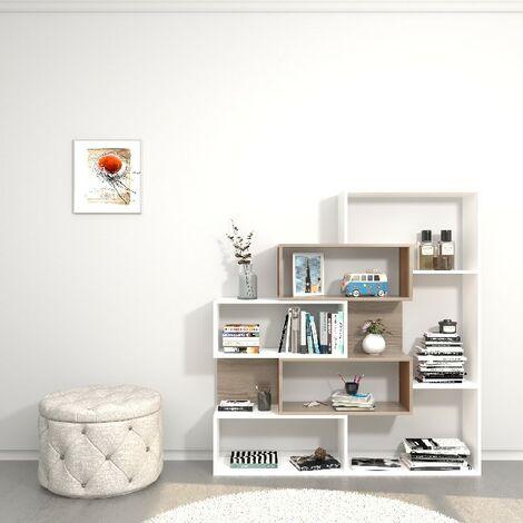 Libreria Era - de pared, estante - con estantes - de sala, oficina, entrada - White, Sonoma en Madera, 140 x 27 x 150 cm