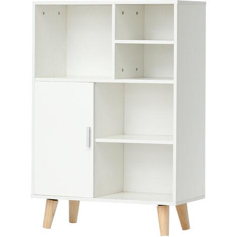 Librería escandinava con patas de madera blanca - L 60 cm