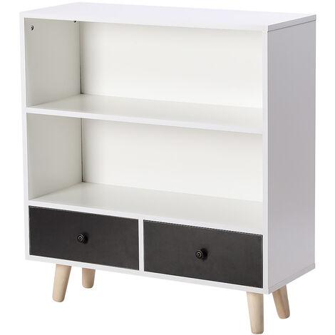 Librería escandinava en blanco y negro oscuro mate - L 80 cm
