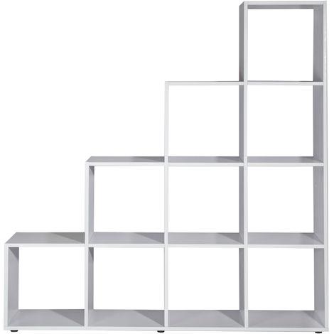 Librería Estante de archivo Estante infantil Estante de escalera Separador de espacios Blanco