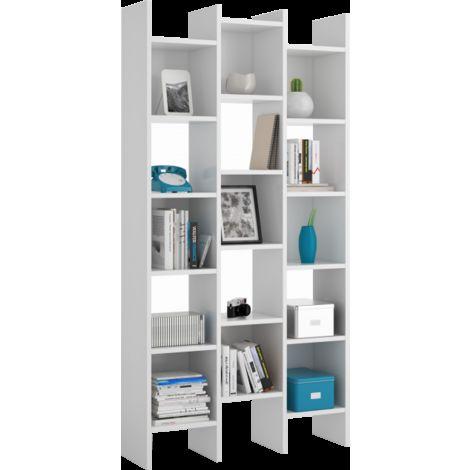 Librería estantería Almacenaje BLANCO BRILLO, Medidas: 192 x 96 x 25 cm de Fondo
