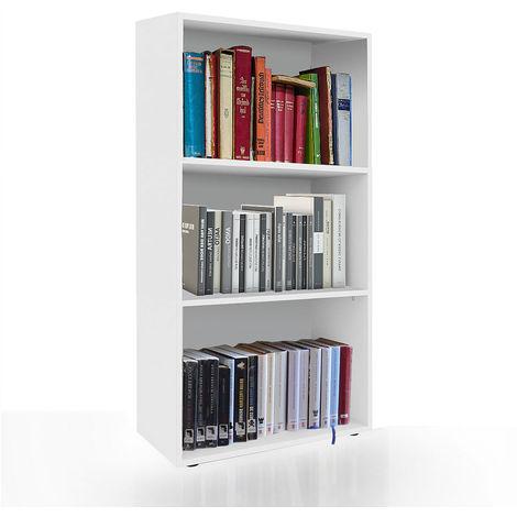 Librería Estantería de pared Armario de libros Blanca estantería 3 compartimentos Archivador Mueble para libros habitación estantería