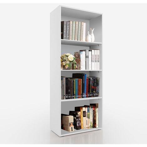 Librería Estantería de pared Armario de libros Blanca estantería 4 compartimentos Archivador Mueble para libros habitación estantería