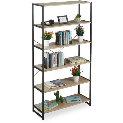 Librería Estantería Industrial con 6 Baldas, Aglomerado/Metal, Marrón, 180 x 95 x 35 cm