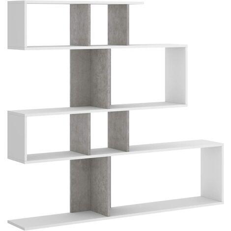 Librería estantería Zig Zag, Comedor, Salon o despacho, Medidas: 130 x 139 x 5 cm de Fondo (Blanco y Gris Cemento)