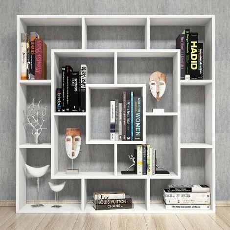 Libreria Frame Estanteria para Libros, Mueble - con Compartimientos - para Salon, Oficina - Blanco en Madera, 125 x 20 x 125 cm