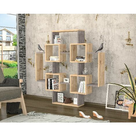 Libreria Gant Estanteria para Libros, Mueble de Pared - con Compartimientos - para Salon, Estudio - Roble, Gris Oscuro en Madera, 123,6 x 22 x 123,6 cm