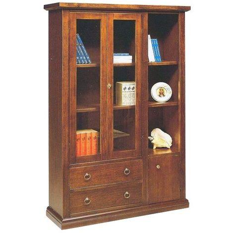 foto de Libreria in legno arte povera 2 ante vetro 2 cassetti