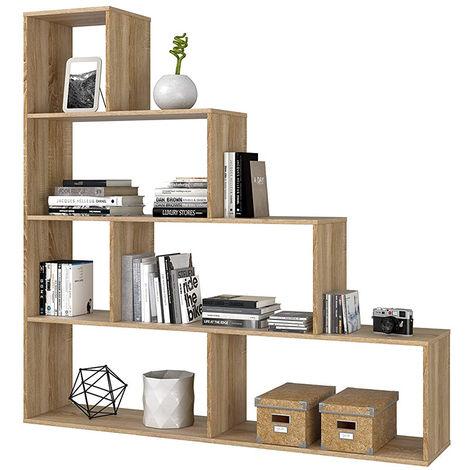 Libreria in legno moderna mobile scaffale rovere 145cm design soggiorno Klum