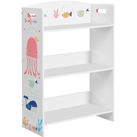 Librería Infantil de 3 Niveles, Estantería Infantil, para Habitación de los Niños y Sala de Juegos, para Libros, Juguetes, Blanco GKRS03WT