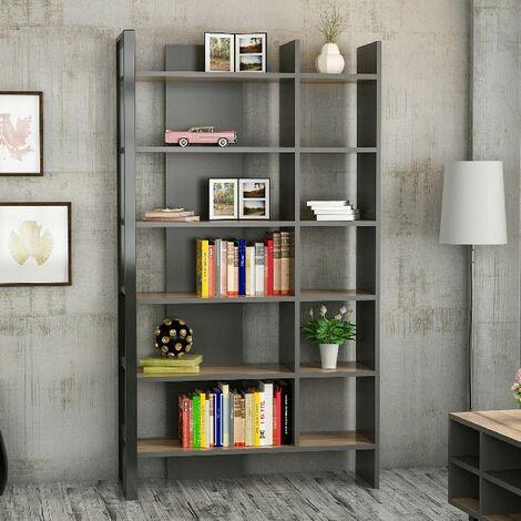 Libreria Leno Estanteria para Libros, Mueble de Pared - con Compartimientos - para Salon, Estudio - Nogal, Antracita, Negro en Madera, 94 x 34 x 160 cm