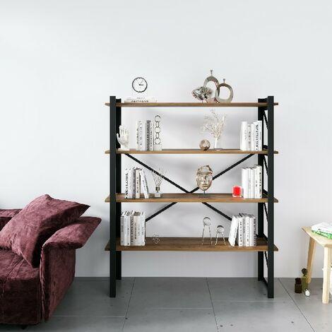Libreria Line - Estante - de pared, oficina, sala de estar - Negro en Metal, Madera, 120 x 35 x 150 cm