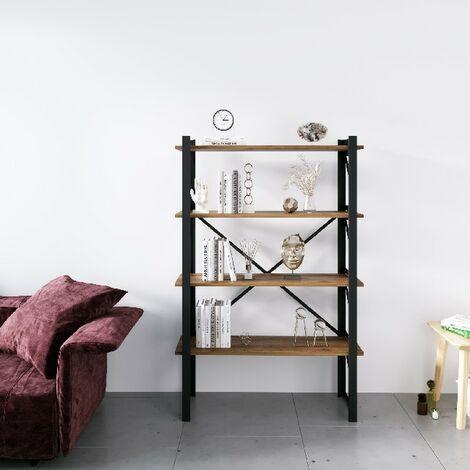 Libreria Line - Estante - de pared, oficina, sala de estar - Negro en Metal, Madera, 90 x 35 x 150 cm