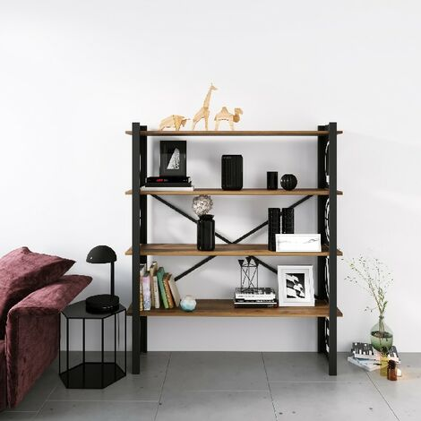 Libreria Love - Estante - de pared, oficina, sala de estar - Negro en Metal, Madera, 120 x 35 x 150 cm