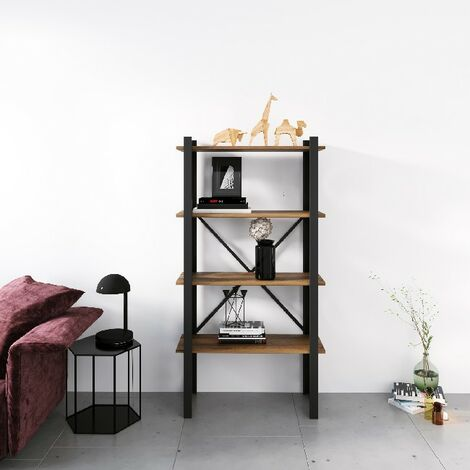 Libreria Love - Estante - de pared, oficina, sala de estar - Negro en Metal, Madera, 70 x 35 x 150 cm