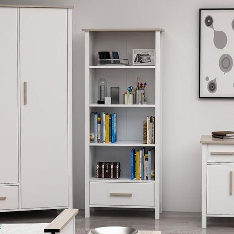 Libreria Luna Estanteria para Libros, Mueble - con Cajon, Compartimientos - para Salon, Oficina - Blanco en Madera, 72 x 33 x 192 cm