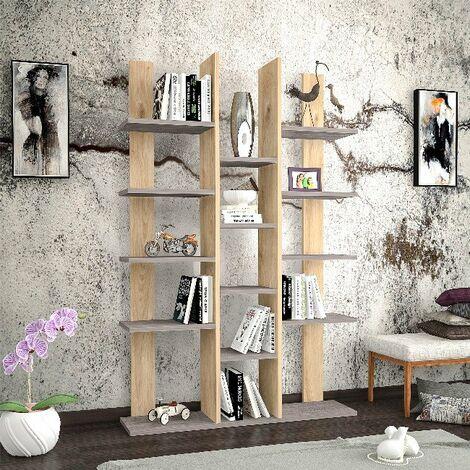 Libreria Misu Estanteria para Libros, Mueble de Pared - con Compartimientos - para Salon, Oficina - Roble, Gris Oscuro en Madera, 98,6 x 22 x 150 cm