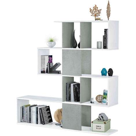 Libreria Moderna In Legno.Libreria Moderna In Legno Bianco Cemento 4 Ripiani Parete Attrezzata Zig Zag