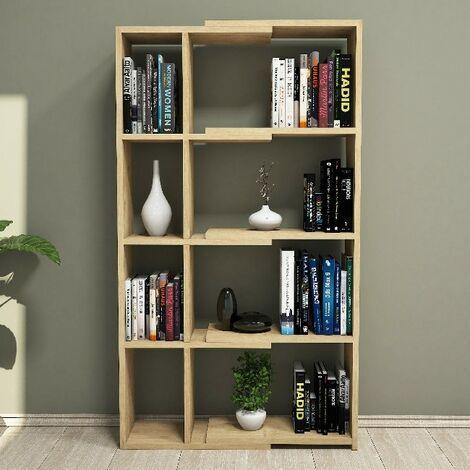 Libreria Movement Estanteria para Libros, Mueble de Pared - con Compartimientos - para Salon, Oficina - Roble en Madera, 73,6 x 22 x 130,8 cm