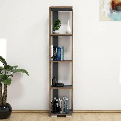 Libreria Nicol Estanteria para Libros, Mueble - con Compartimientos - para Salon, Oficina - Antracita en Madera, 33,6 x 25,8 x 153 cm