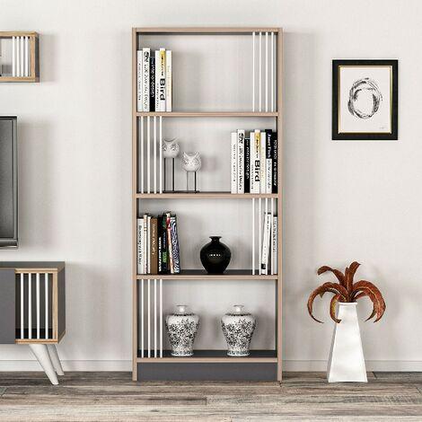 Libreria Nicol Estanteria para Libros, Mueble de Pared - con Compartimientos - para Salon, Oficina - Antracita, Nogal en Madera, 64 x 22 x 150 cm