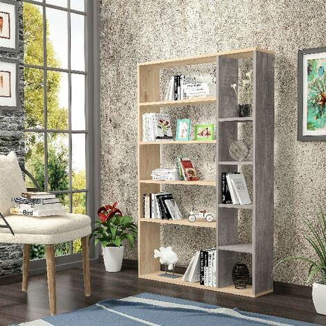 Libreria Nova Estanteria para Libros, Mueble de Pared - con Compartimientos - para Salon, Oficina - Roble, Gris Oscuro en Madera, 98,6 x 22 x 150 cm