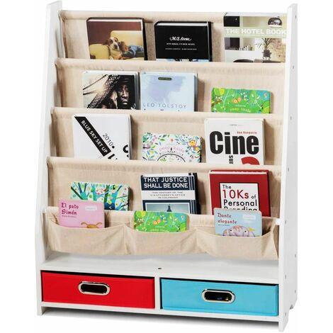 Librería para Niños Estantería con 2 Cajas de Almacenamiento Estantería para Habitación de Niños para Libros Organizador