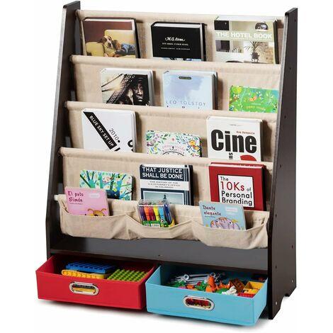 Librería para Niños Estantería con 2 Cajas de Almacenamiento Estantería para Habitación de Niños para Libros Organizador (Marrón)